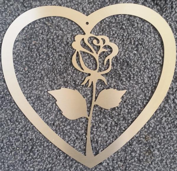Herz mit Rose aus Edelstahl Laserzuschnitt
