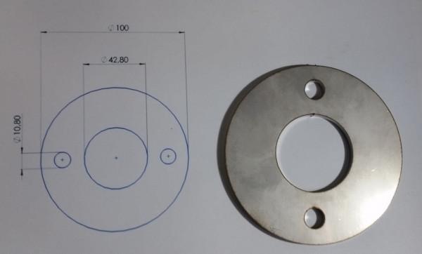 Ronde 100 mm VA mit Mittelloch